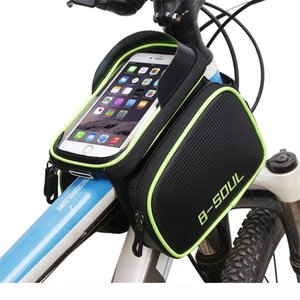 B - SOUL Bicycle Frame For Head Top Tube Waterproof Bike Bag & Double Pouch Cycling For 6.2 in Mobile Phone Bicycle accessories