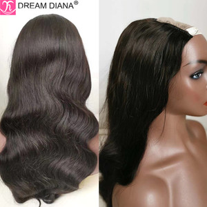 "DreamDiana Brazilian Hair Body Wave U Part Lace Wig 100% Remy Human Hair U Part Lace Wig Natural Black 10""-32"" Long M"