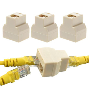 3Pcs set 1 To 2 Way LAN Ethernet Network Cable RJ45 Female Splitter Connector Adapter for Computer White High Quality