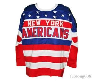 2020 Vintage Americans de New York Hockey Jersey broderie Cousu Personnaliser les chandails Les nom et numéro