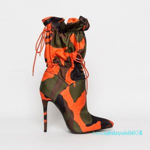 2019 Spring Autumn New High Heels 11cm Stilettos Fashion Camouflage Ankle Shoes Woman Lace Up Sexy Night Club Boots Chic c03 y08