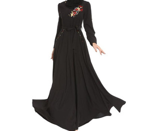 Lady Muslim Dress Women Black Embroidery Loose Long Sleeve Round Neck Festival Dress Islamic Clothing Vetement Femme99