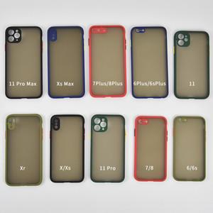 DHL 100PCS Phone Case For iPhone 6 7 8 plus X 11 12 Pro Max X XR XS Max 7Plus Luxury Contrast Color Frame Matte Hard TPU+PC Protective