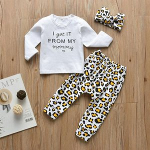 Newborn Baby Girl Clothes Autumn Long Sleeve Letter I got it From my mommy T-Shirt+Pants+Headband Infant Baby Girl Clothing Set