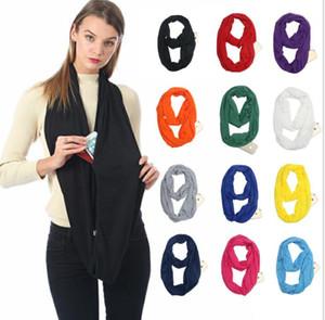 Donne sciarpa Infinity sciarpe con Pocket Zipper 22 colori leggero colore puro Anello Sciarpa Sciarpe bagagli Bib regalo di Natale C345