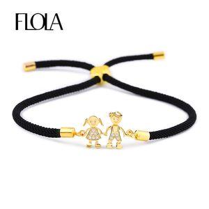 FLOLA Boy & Girl Friendship Bracelet Adjustable Black String Rope Bracelet CZ Zircon Charm Couple Bracelet Jewelry Gift brtb05 Y200918