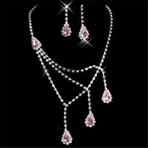 15020 Best Selling unici gioielli damigelle d'onore da sposa orecchini collana di strass Vendita Set Prom in CALDO