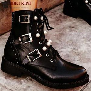 RIBETRINI Ins mayor de la perla de la hebilla del tobillo del talón Bajo Zapatos de las mujeres de la plataforma punky de la manera de la cremallera Botas Botas otoño