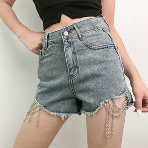 YYXZ أزياء الصيف مثير SML الخام Selvedge سلسلة عالية الخصر يونغ امرأة عادية سروال جينز قصير سيدة السراويل بنطلون جينز