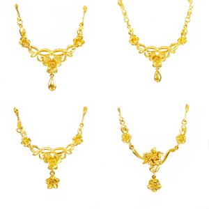 2020 New Fashion 24K Gold petal drop shape Pendant Necklaces for Women Jewelry Classic Statement Choker Necklace friends gifts