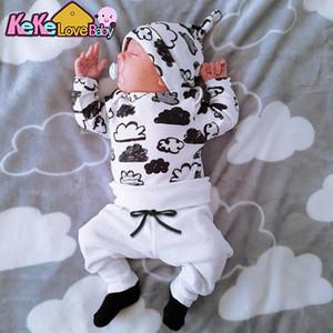 Baby Boy Roupas Conjunto Outono Estilo Recém-Newborn Desenhos Animados Dos Desenhos Animados Nuvem Top Calças Chapéu New Born Bebê Meninos Meninas Roupas Crianças Roupa Terno C0922