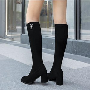 But knee boots high tops lean boots round heads women's shoes 2020 Autumn winter new knight boots high suede