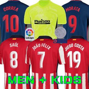 قميص 20 21 اتلتيكو مدريد لكرة القدم الفانيلة JOAO FELIX 2020 2021 SAUL Camisetas دي فوتبول موراتا رجل جيرسي الاطفال كيت DIEGO COSTA كرة القدم