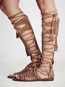 New Fashion Women Open Toe Straps Design Knee High Suede Leather Flat Boots Lace-up Long Flat Sandal Boots Beach Shoes