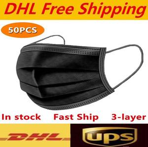 DHL UPS trasporto libero nero rosa bianco maschere monouso faccia 3-maschera di livello di protezione con maschere Earloop Bocca Volto Sanitari all'aperto