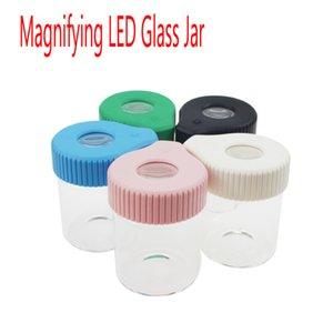 Smokus 마찬가지로 플라스틱 뚜껑 155ml 드라이 허브 꽃 3.5G 확대경 LED 라이트 유리 은닉 저장 항아리