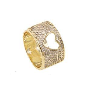 Dedo Sdzstone oro amarillo de color radiante corazones CZ clara joyería anillo, la mujer regalo de la madre