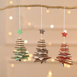 Bois d'arbre de Noël Pendentif étoile à cinq branches Snowflake cordes Arbre de Noël Ornement d'arbre de Noël Rouge Vert Bois Décoration GWF1949