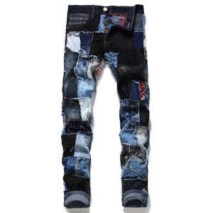Nouvelle arrivée Mode Hommes Pantalons Jeans Ripped Patchwork Streetwear droite Pantalons Jeans Homme Hip Hop Washed