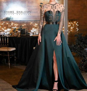 Evening dress Yousef aljasmi Kendal Jenner Women dress Kim kardashian Mermaid Green O-Neck Ball gown Silver Crystal Long sleeve