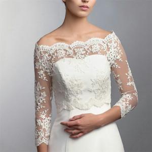 Bridal Lace Jacket Bateau Long Sleeves Appliques Wrap Sheath Bridal Bolero For Wedding Dresses Custom Made High Quality Jacket