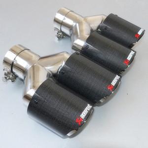 Un par y estilo brillante de acero inoxidable de acero inoxidable Tips Dual Tips Universal Akrapovic Car Puntas de escape 5dBW #