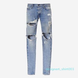 18ss Fear of God Denim Pants FOG Ripped Jeans Print Mens Jeans Fashion Skinny Pants Zipper Fly Trousers Letters Casual Jeans HFTTKZ096 d03