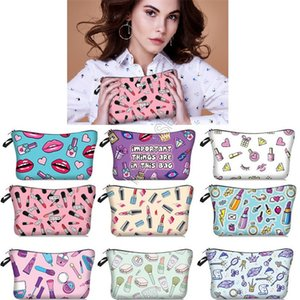 Women Lipstick Fashion Cosmetic Makeup Bags Girls Mouth Lips Print Handbag Tote Purses Toiletry Bag Brushes Jewelry Storage Totes New D9709
