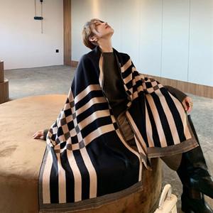럭셔리 블랙 격자 무늬 스카프 여성 겨울 따뜻한 캐시미어 담요 랩 여성 스카프 레이디 두께 풀라 스톨