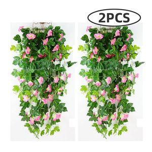 2pcs (90cm pc) Artificial Trumpet Flower Vine with Green Leaves Fake Green Plant Wedding Garden DIY Hanging Garland Wall Decor