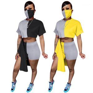 Summer Womens Desigenr Casual Abiti manica corta Design Design Top Colorblock Shorts Designer di lusso Designer Due Pantaloncini da donna