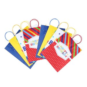 Kraft Paper Bags with Handles Portable Birthday Gift Bag Creative Tote Bags