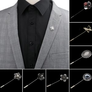 Men's Advanced Retro Breastpin Pin Jewelry Rose Flower Banquet Brooch Stick Corsage Collar Pins Shirt Accessory Gift
