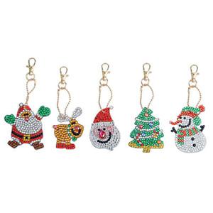 DIY Diamond Keychain Special-Shape Diamond Painting Christmas Decor Bag Pendant Keychains Jewelry Key Ring Gifts IIA631