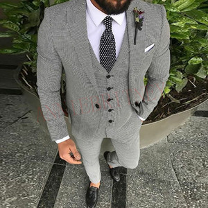Casual Suit Men 3 Piece 2020 Tailored Slim Fit Fashion Blazer Pants Vest for Men Handsome Men's Clothes Set Groom Wedding Tuxedo