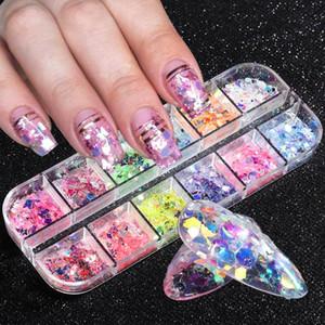 AB cristallo Nail Paillettes Fiocchi fluorescenza Paillettes Mix farfalla Hexagon rotonda Sparkly Glitter Nails Confetti Manicure BETH