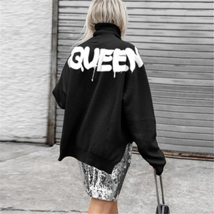 Winter Women Hoodies Queen High Neck Manga Longa Loose Pullovers Casual Cor Sólida Mulher Split Split Sweetshirts