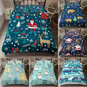 ZEIMON 3D Bettbezug Pillowcase Weihnachtsmann Hirsch Dekoration Bettwäsche-Set Happy Christmas Queen-Size-Twin Voll König Doppel