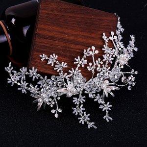 SLBRIDAL main strass cristal Perles Feuille Fleur cheveux de mariée clip Barrettes mariage Accessoires de cheveux Femmes Bijoux