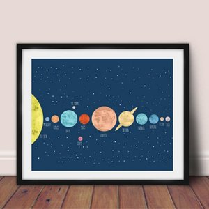 Solar System Poster Prints Kids Room Wall Art Decor , Watercolor Solar System Space Canvas Painting Planet Po's'te'r