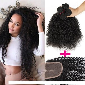 H 1pc Top Lace Closure +3pcs Curly Hair Wefts Brazilian Kinky Curly Virgin Human Hair Weave Hair Extensions Deep Curly 7a Remy Human We