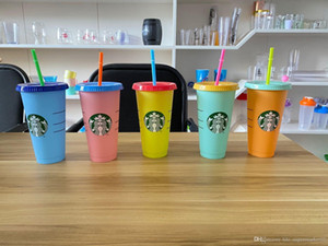 24OZ 색상 변경 텀블러 플라스틱 마시는 주스 한잔 립 짚 매직 커피 잔 Costom 스타 벅스 색 플라스틱 컵을 변경