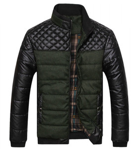 Chaquetas 2020 NUEVO Dropshipping Invierno Primavera grueso de los hombres y Coats remiendo de la PU del diseñador de moda para hombre de las chaquetas de algodón de abrigo