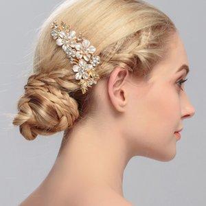 Невесты Handwork Headdress взрослая женщина цветка вставляя Comb Свадебные аксессуары невесты ручной волос Rhinestone украшения горячий продавая 7hx L1