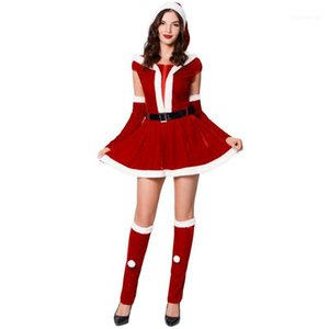 Neck Waist Down Skirt And Hat Leather Belt Gloves Foot Cover Christmas Stage Performance Set Fashion Crew