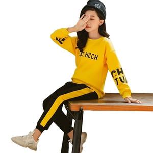 Mädchen-Kleidung 2020 Herbst-Frühling-T-Shirts + Hosen Anzüge Kinderkleidung Teen Kinder Kleidung Sets 5 6 7 8 9 10 12 Jahre Y200831