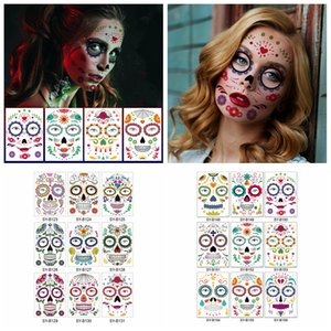 Halloween Temporary Tattoo Stickers Decor Props Face Sticker Waterproof Atmosphere Masquerade Face Tattoos for Body Art FFA4461-4
