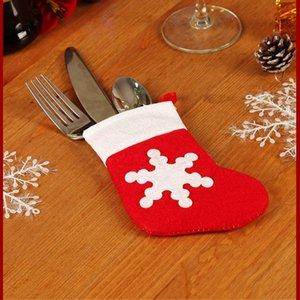 Tabella di natale Holder calze Posate copertura Natale Capodanno tasca Fork Knife posate Bag Casa Dinner Party Decoration Stoviglie GWE1785