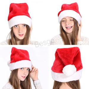 Rouge Chapeau de Noël en peluche Père Noël cosplay chapeau chaud hiver Adultes adultes Noël Chapeaux de fête de Noël Cap Party Decoration Caps BH0131 TQQ