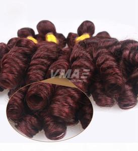 VMAE Popular anuty Funmi Hair For Black Women 3 Bundles Cheap Color#99j Burgundy Unprocessed Virgin Bouncy Curly Human Hair Weave